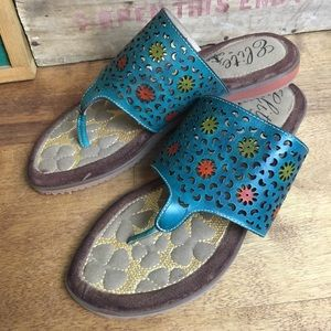 NEW Elite by Corkys metallic leather sandals 8